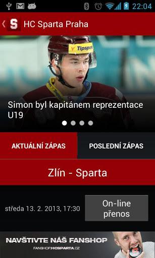 HC Sparta Praha - rudá krev na displeji mobilů
