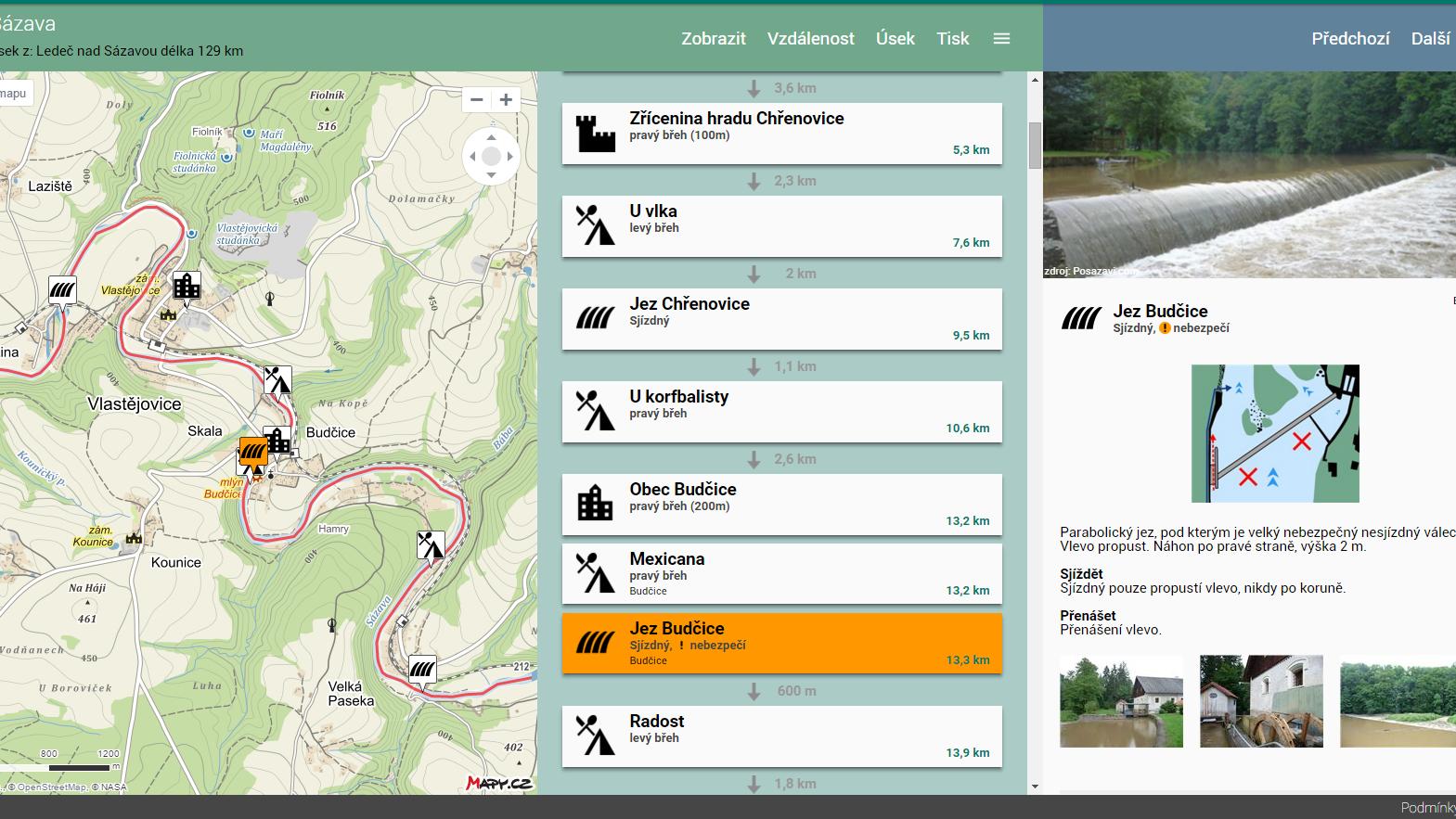 Vodácká navigace a kilometráž