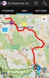 Samotné zobrazení trasy na mapě (foto)