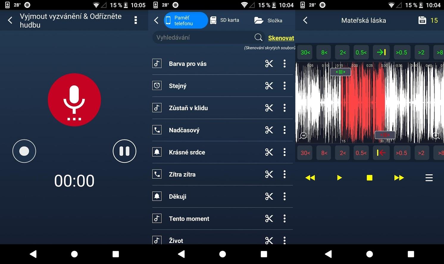 Aplikace pro úpravy a nastavení vyzváněcích tónů je jednoúčelovou, ale přesto komplexní