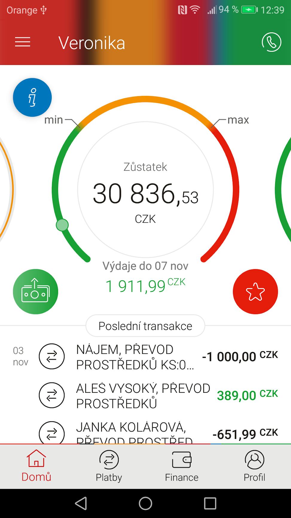 Aplikace mBank vypadá dobře a má příjemné rozhraní. Chybí ale možnost pohodlnějšího zadávání čísel účtu