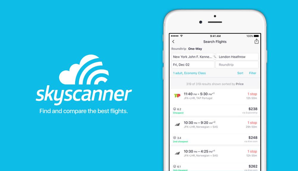 Skyscanner jako jednotný vyhledávač pro cestování a dovolené. Umí vyhledávat letenky, hotely i autopůjčovny